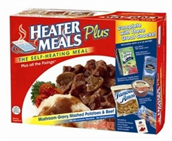 "HeaterMeals ""Plus"" Meal Kit - Mushroom Gravy, Mashed Potatoes & Beef Entree"